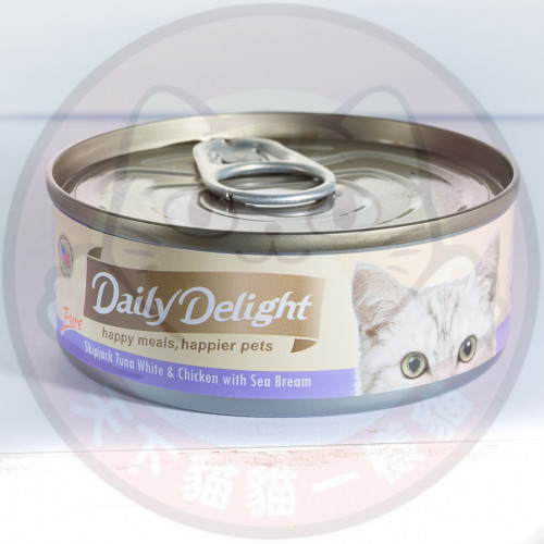 Daily Delight Pure Skipjack Tuna White & Chicken with Sea Bream 80g 低鎂配方白鰹吞拿魚+雞肉+海鯛魚 DD44
